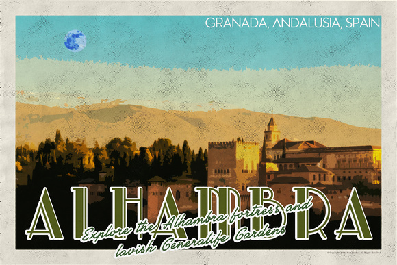 Alhambra fortress in Andalusia Vintage Travel Poster v2