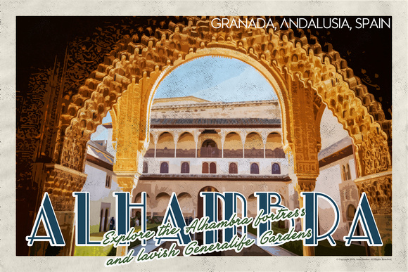 Alhambra fortress in Andalusia Vintage Travel Poster v5