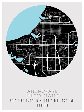 Anchorage, USA Minimalist Street Map  Poster