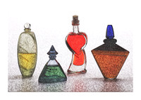 Rough Sketch of Still Life - Bottles by Ahmet Asar