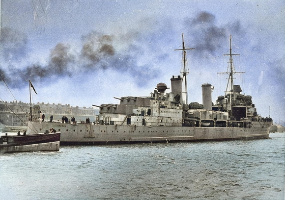 British cruiser HMS Edinburgh (16) on the Tyne River after trials in the North Sea 1939