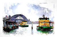A bleak day in Sydney Circular Quay painting